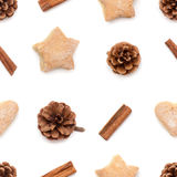 杉木锥体,桂香,曲奇饼圣诞节汇集样式 库存照片