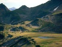 杉木从Elkhead通行证,大学峰顶原野,圣伊莎贝尔国家森林,科罗拉多的小河谷 库存照片