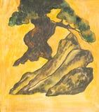 杉树,绘 库存图片