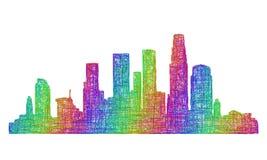 洛杉矶地平线剪影-多色线艺术 免版税库存图片