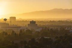洛杉矶市在微明下 免版税库存图片