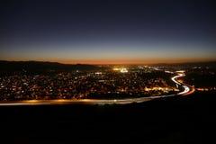 洛杉矶郊区黄昏 免版税库存图片