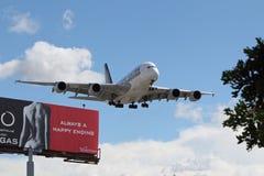 新加坡航空空中客车A-380 免版税库存照片