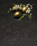 李子开花分支和复活节彩蛋在古色古香的布朗花岗岩cou 库存照片