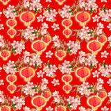 李子开花,红色纸灯分支  重复背景的春节 水彩 库存照片