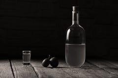 李子白兰地酒,瓶Rakija 免版税库存图片