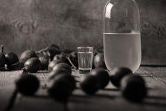 李子白兰地酒,瓶Rakija 免版税库存照片