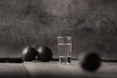 李子白兰地酒, Rakija玻璃  免版税库存照片