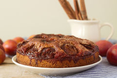 李子饼或蛋糕用桂香和糖 从报纸纽约时报的李子蛋糕 选择聚焦 库存照片