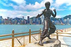 李小龙香港雕象  免版税库存图片
