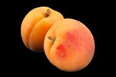 杏子在balck的果子特写镜头 免版税库存图片