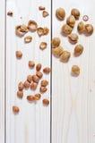 杏子坑和壳 免版税库存图片