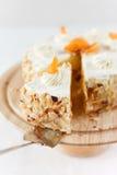 杏子奶油蛋糕 库存图片