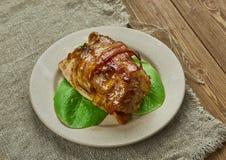 杏子给上釉的烟肉被包裹的Cajun猪里脊肉 库存图片