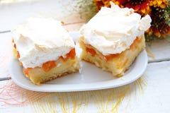 杏子蛋糕用蛋白甜饼 库存照片