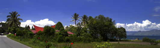 村庄全景, Samosir海岛。 库存照片