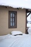 村庄冬天 库存照片