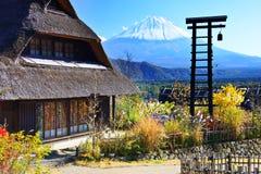 村庄和富士山 免版税图库摄影