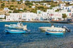 村庄和海滩场面,米科诺斯岛 库存照片