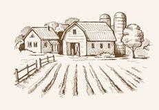 村庄和风景农场 皇族释放例证