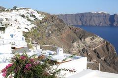 村庄和破火山口,圣托里尼海岛,希腊 图库摄影