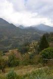 村庄和绿色和五颜六色的米领域大阳台,尼泊尔鸟瞰图  图库摄影