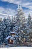 村庄在一个多雪的森林里 库存照片
