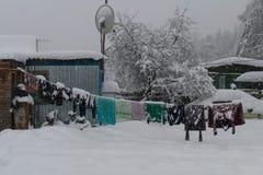村庄在与雪的冬天 免版税库存照片