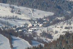 村庄在冬天 图库摄影