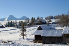 村庄在冬天 免版税库存照片