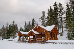 村庄在冬天 库存照片
