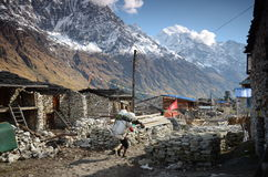 村庄在喜马拉雅山 免版税库存图片