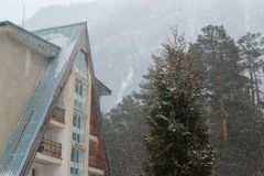 村庄在多雪的森林里 库存照片