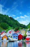 村庄在挪威海湾 免版税图库摄影