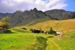 村庄在瑞士阿尔卑斯 库存照片