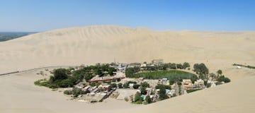 绿洲村庄在白色沙子沙漠 免版税图库摄影