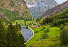 村庄在Flam -挪威 库存图片