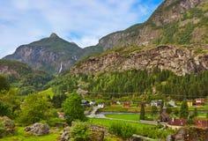 村庄在Flam -挪威 免版税库存照片