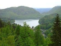 村庄惊人的看法阿尔卑斯山的在湖附近 巴伐利亚人 德国 欧洲 美丽的绿色结构树 惊人的自然背景 免版税库存照片