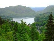 村庄惊人的看法阿尔卑斯山的在湖附近 巴伐利亚人 德国 欧洲 美丽的绿色结构树 免版税库存照片