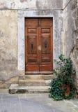 村庄房子,托斯卡纳,意大利的老被风化的木门 免版税图库摄影