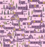 村庄是一层房子、篱芭、冷杉、狗和狗窝 免版税库存图片