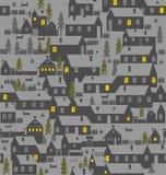 村庄是一层房子、篱芭、冷杉、狗和狗窝 免版税图库摄影