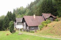 村庄用了木材建造 免版税库存照片