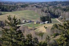 村庄的一张鸟瞰图 库存照片