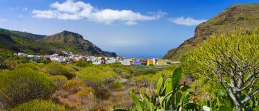 村庄的全景图象在特内里费岛 免版税库存照片