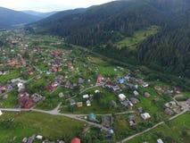 村庄的空中照片 免版税库存照片
