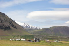 村庄的美丽如画的看法,冰岛 库存照片