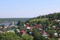 村庄的鸟瞰图 库存图片