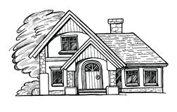 村庄的黑白剪影 免版税库存图片